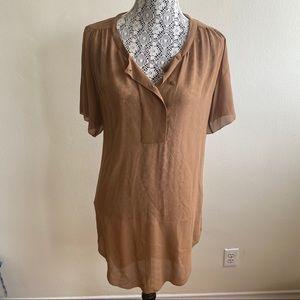 Aritzia Wilfred 100% Silk Sheer Blouse Dress Sz XS